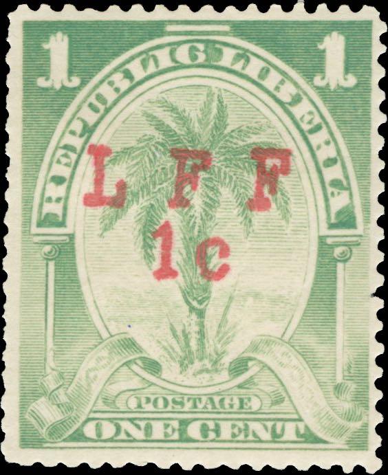 Liberia_1916_Palm_1c_LFF_overprint_Forgery2