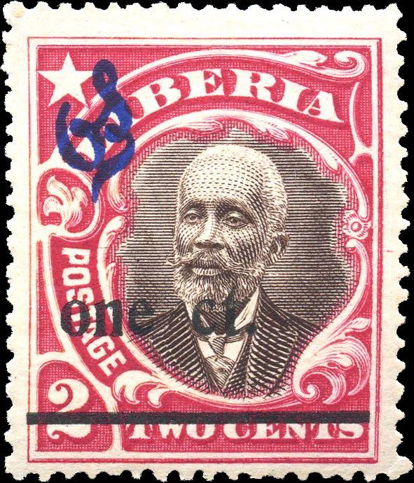 Liberia_1916_Provisional_1c-on-2c_CTO_Genuine