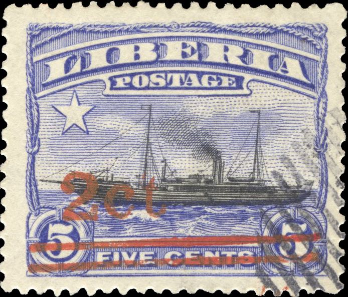 Liberia_1916_Provisional_2c-on-5c_CTO_Forgery