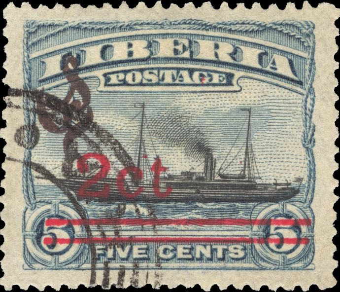 Liberia_1916_Provisional_2c-on-5c_black_CTO_Forgery