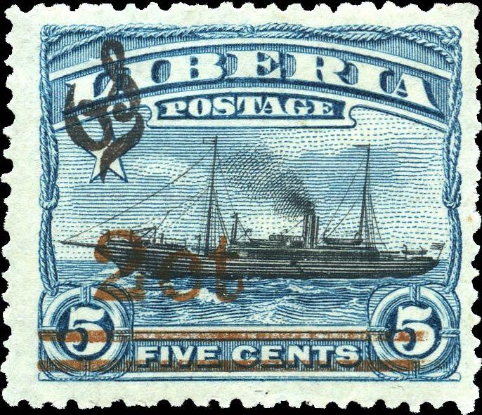 Liberia_1916_Provisional_2c-on-5c_black_Genuine