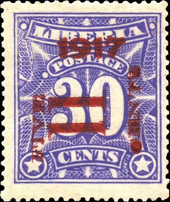 Liberia_1917_Provisional_5c-on-30c_Genuine