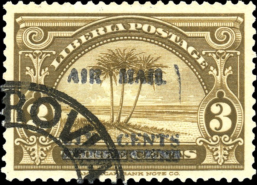 Liberia_1939_Airmail_6c-on-3c_CTO_Forgery