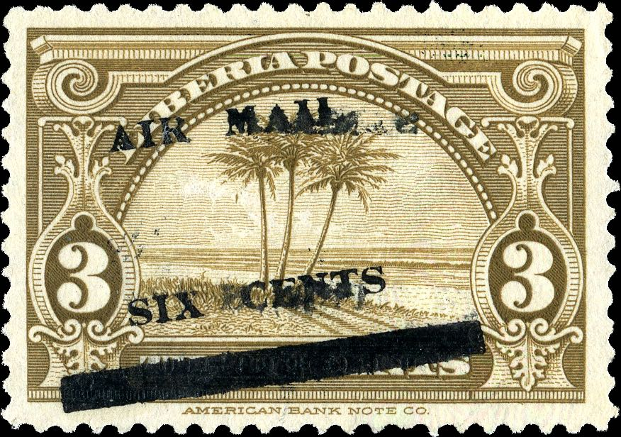 Liberia_1939_Airmail_6c-on-3c_Genuine