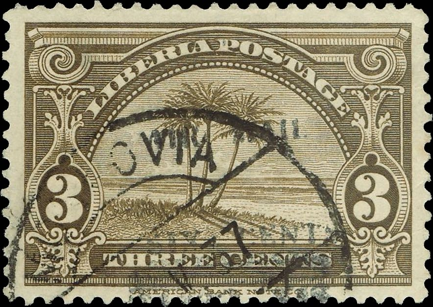 Liberia_1939_Airmail_6c-on-3c_used_Forgery