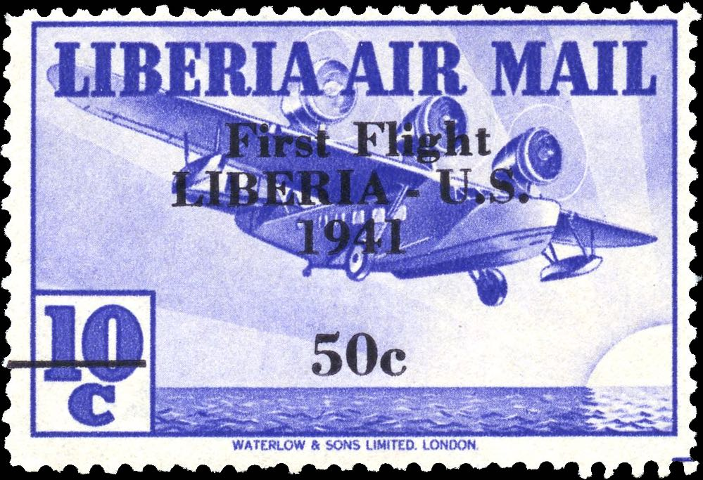 Liberia_1941_First_Flight_10c_Genuine