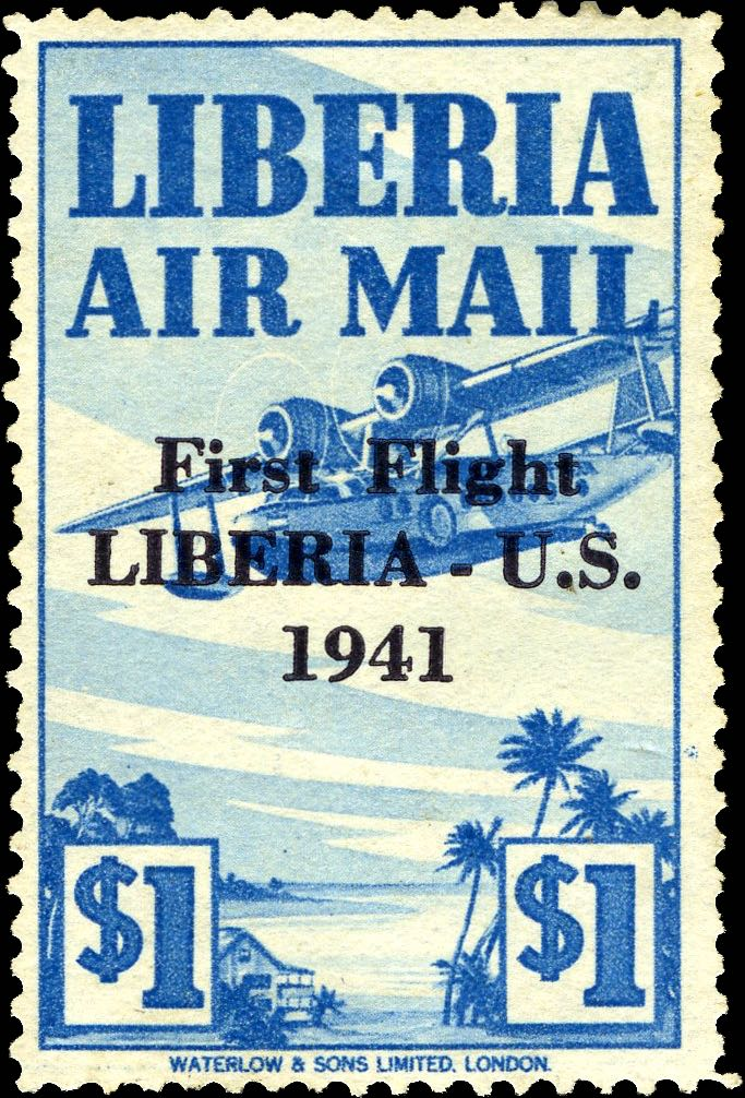 Liberia_1941_First_Flight_1dollar_Genuine