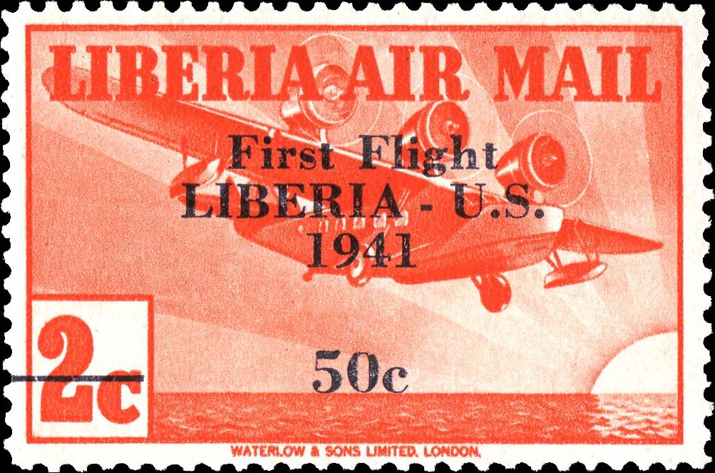 Liberia_1941_First_Flight_2c_Genuine