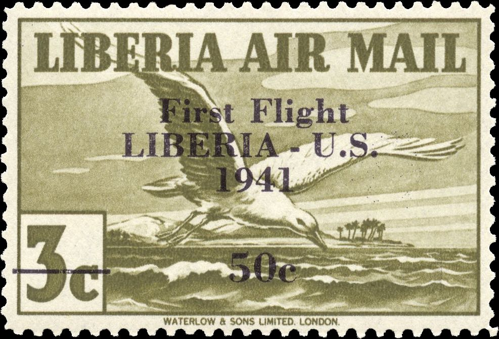 Liberia_1941_First_Flight_3c_Genuine