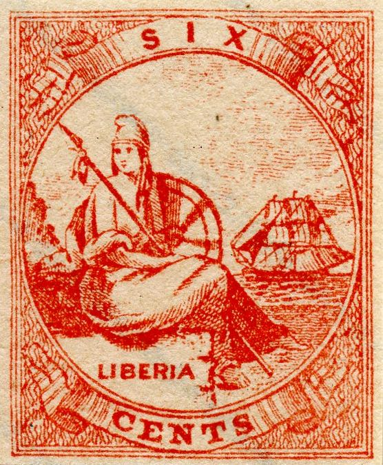 Liberia_Allegory_1st-series_6c_Fournier_Forgery1